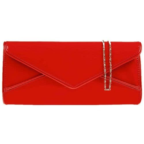 Red Clutch Bag Ladies Glossy Shoulder Bag Faux Patent Prom Wedding Evening Bag